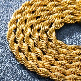 幅4mmゴールドロープチェーンネックレス