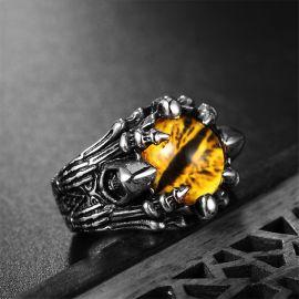 黄色の目 ドラゴン ステンレススチール リング