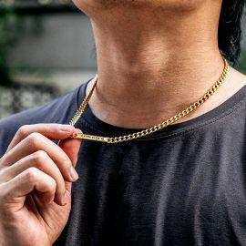ゴールド 5mm パーソナライズ 刻印 キューバ ID ネックレス