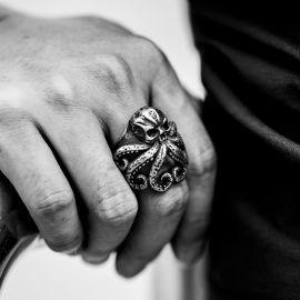 タコ 頭蓋骨 ステンレススチール 動物 指輪