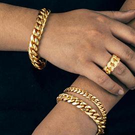 ゴールド キューバ リング & キューバ ブレスレット セット