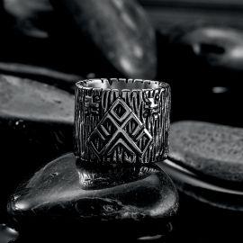 古代 フレット ギリシャ パターン ステンレススチール リング