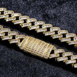 ゴールド 14mm プロング バゲット カット ボックス クラスプ キューバ チェーン