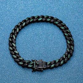 ブラックゴールド 8mm エメラルド&ブラック CZダイヤ キューバ 喜平 ブレスレット