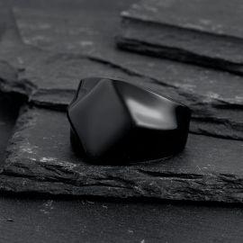 ブラック フラット トップ シグネット 上品 ステンレススチール リング