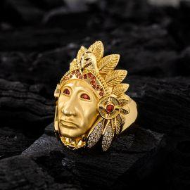 ゴールド ネイティブ アメリカン インディアン チーフ ヘッド リング