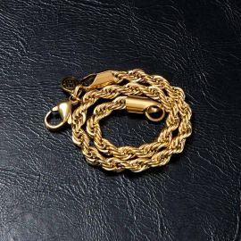 ゴールド 4mm ロープ ブレスレット