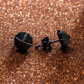 8 * 8mm ブラック 八角形 スタッド ピアス