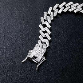 ホワイトゴールド 14mm プロング キューバ ブレスレット