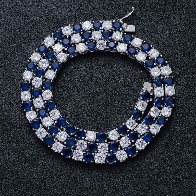5mm ブルー&ホワイト CZダイヤ テニス チェーン