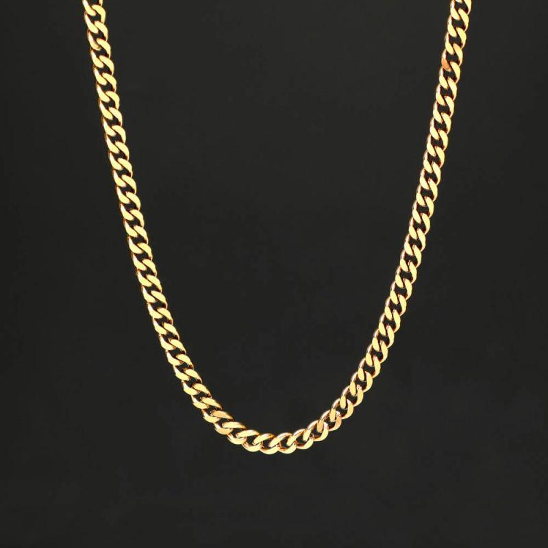 幅5mmゴールドキューバンチェーンネックレス