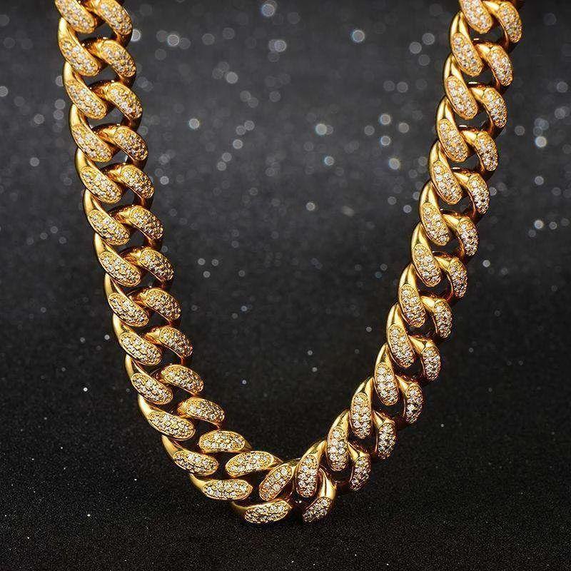 幅13mm ゴールド CZダイヤ キューバン ネックレス