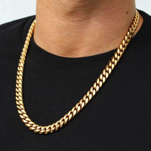 幅8mm ゴールド キューバン ネックレス