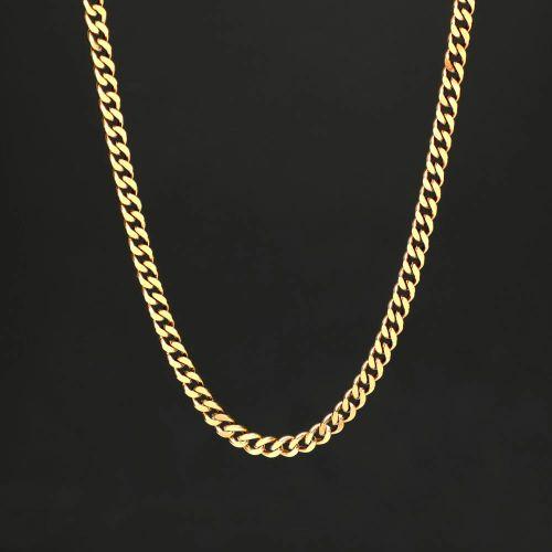 幅5mm ゴールド キューバン チェーン ネックレス